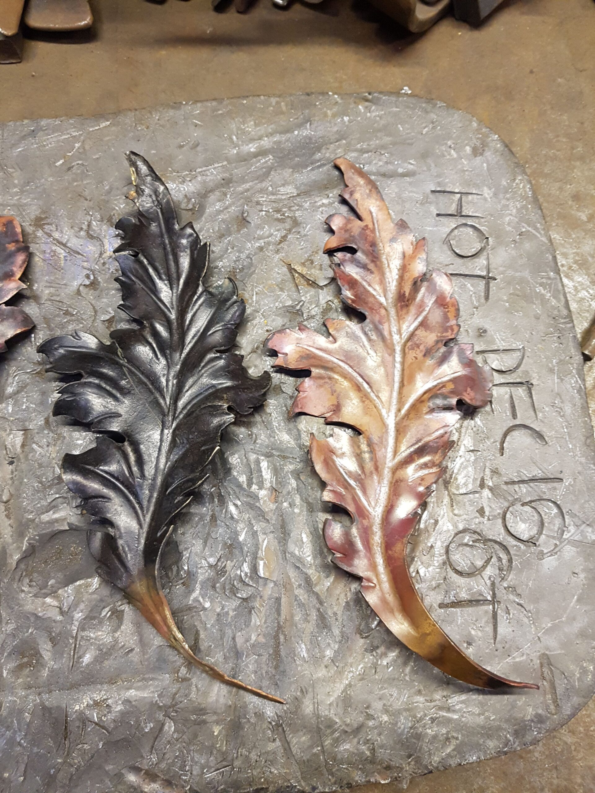 Repoussé copper leaves
